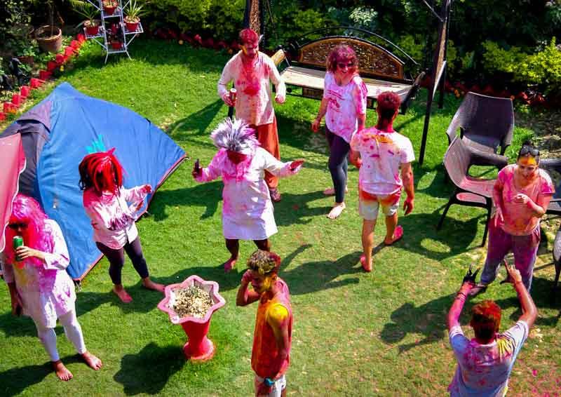 Holi Celebration at International Travellers' Hostel, 2018